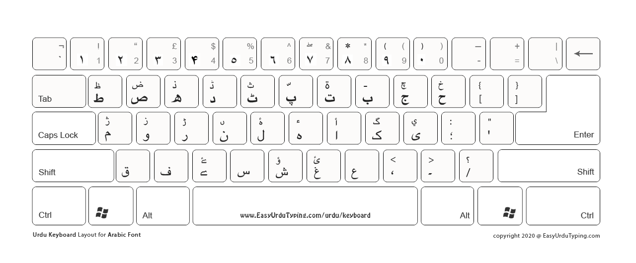 Unicode keyboard layout in a white background theme. Best for printing as it consume less ink.